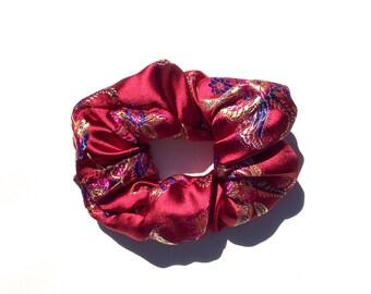 Red Chinese Brocade Scrunchie