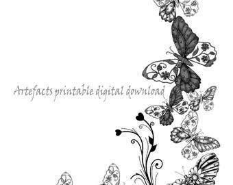Printable digital butterflies, collage for scrapbook,cards, paper crafting, 2 digital downloads