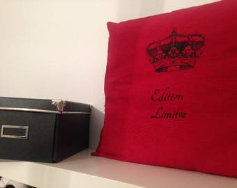 Red and black linen and cotton pillow cover