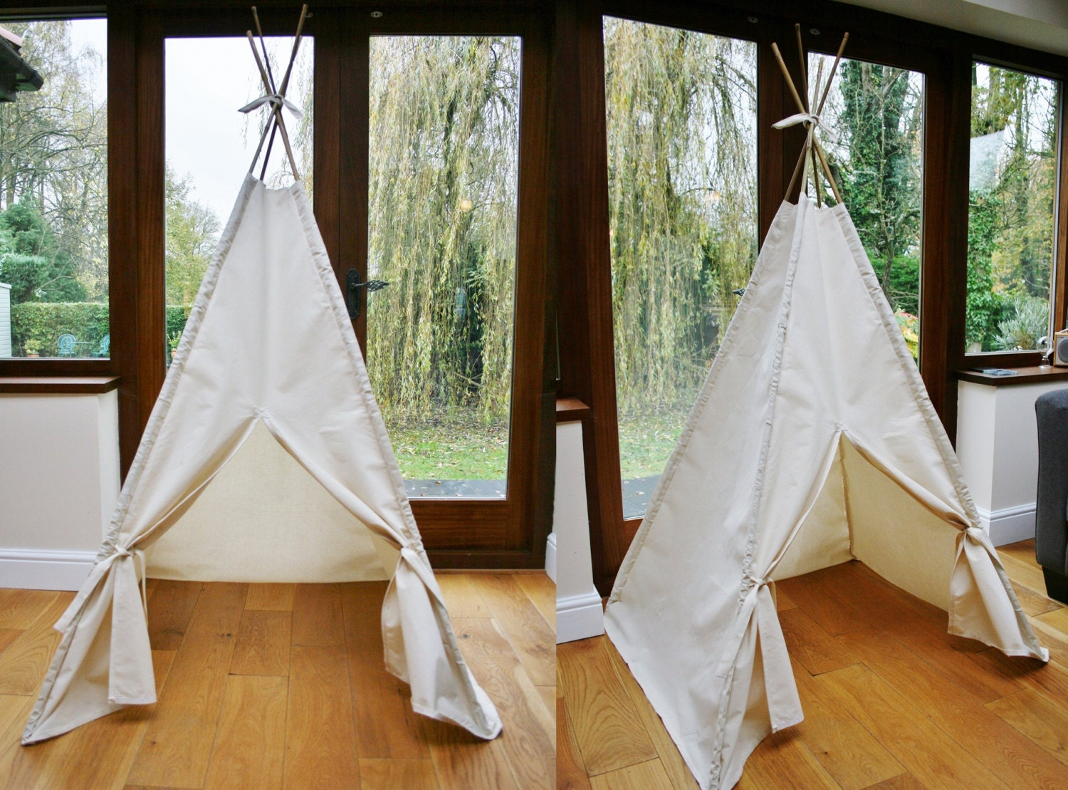 ?zoom & Handmade Plain Cream Calico Teepee. Childrenu0027s Play Tent /