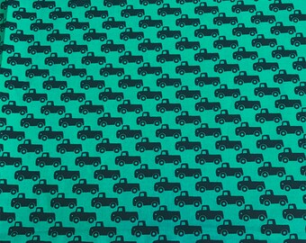 TINY TRUCKS in TEAL, Michael Miller, 100% Cotton Quilting Fabric Apparel, Fabric by the Yard