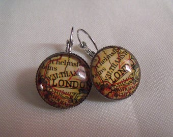 LIQUIDATION earrings cabochon 20 mm in glass london