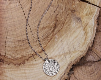 Solid Silver Disc Pendant, 925 Sterling Silver Necklace, Small Circle Reticulated Pendant, Long Silver Chain Necklace, Silver Reticulation