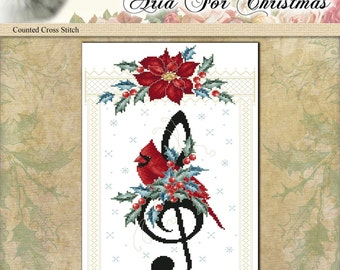 Counted Cross Stitch Pattern Aria For Christmas Printed Leaflet