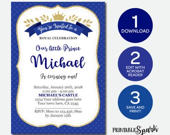 Instant Download, Little Prince Invitation, Royal Birthday Invitation, Edit Yourself Now!