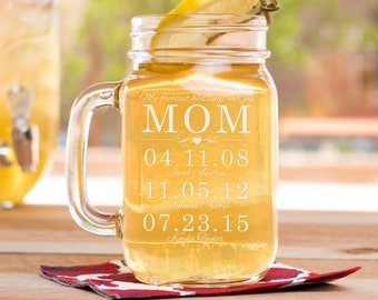 Gift For Mother, Mothers Day Gift, Mom Gift, Mothers Day Gift For Grandma, Mason Jar For Mom, Etched Mason Jar, Mother Of The Bride Gift