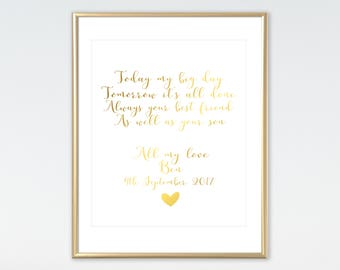Always Your Best Friend As Well As Your Son, Real Foil Print, Mother Of The Groom Gift, Wedding Keepsake,