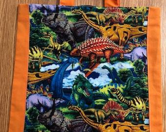 Handmade Dinosaur Tote / Book bag
