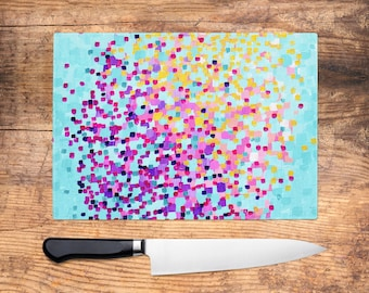 Summertime Glass Chopping Board   Mint Green U0026 Pink Worktop Saver, Platter,  Large Cutting Board, Kitchen Gift, Kitchen Accessories