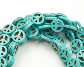 Turquoise Peace Sign 3 Sizes- Full 15 Inch Strand