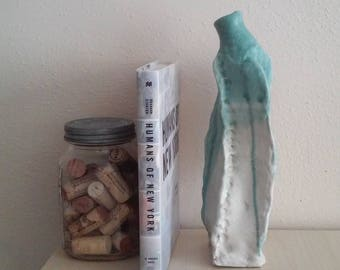 Handmade Turquoise Slab Bottle / Vase Pottery