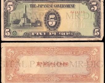 Japanese Peso Note / Japan Money / Digital Paper / Japanese Currency / Antique Money / Antique Ephemera / Digital Download / Paper Ephemera