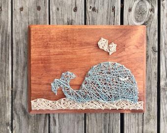 String Art, Whale Nursery, Nautical Whale Art, Baby Whale Sign, Baby Whale Wall Art, Baby Whale Art, Whale Wood Art, Nautical Whale Sign