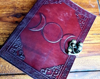 Leather Triple Moon Handmade Journal  Diary, Book of Shadows
