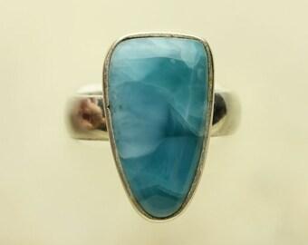 Larimar Silver Ring, Larimar Caribbean Aqua Blue Cabochon Sterling Silver Ring, Pectolite #20