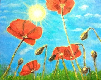 Painting. Flower painting. Poppy painting.