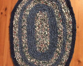 Muted Blue Crocheted Rag Rug Hand Made by Lisa Martin