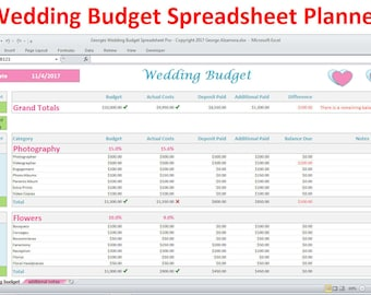 wedding budget worksheet excel