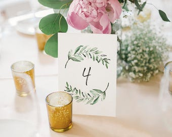 Wedding Table Numbers, Printable Table Numbers, Greenery Table Numbers, Table Numbers for Wedding, PDF Instant Download #BPB330_7
