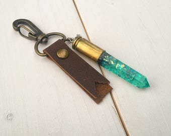 Unique Resin Crystal Bullet Casing  Boho Handmade leather keychain gift for him or her