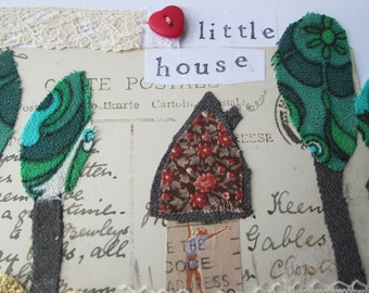 Little House - Mixed Media Greetings Card - Original Artwork