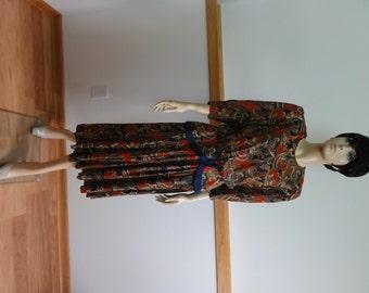 Vintage Dress, Size 14, Petite, Paisley Print, 3/4 Sleeve, Lisa Petites Retro Dress #526