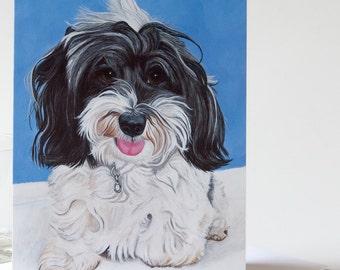 "Note Card 5 x 7"" of Original Painting ""Daphne"" Award Winning Artist Ingrid Lockowandt Blank Dog Greeting Card"