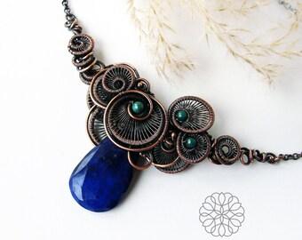 Lapis sky - amazing copper necklace, lapis lazuli necklace, wire wrapped statement necklace, asymmetric necklace, unique gift for her