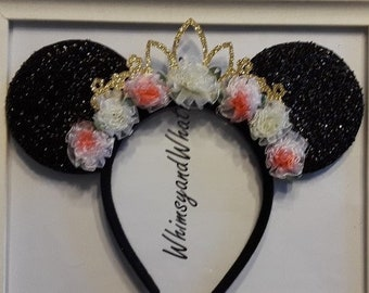 Black Sparkly Minnie Mouse Ears with Gold Tiara and Pink and white flowers