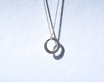 Handmade silver circle with necklace