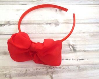 Red Baby headband, toddler headband, girl headband, girl bow headband, toddler hard headband, Red Bow Head Band, girl hair band