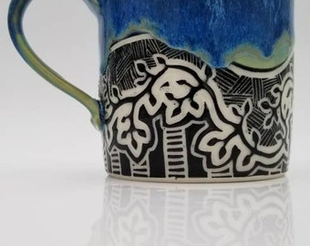 Handmade Carved Foliage Mug