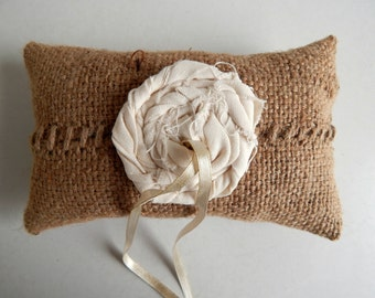 Burlap Ring Bearer Pillow with Cream Linen Rosette - Rustic Chic Wedding Accessory - Repurposed Coffee Sack