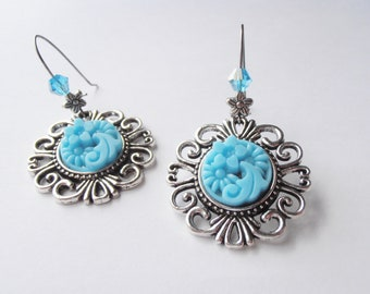 Pretty Blue Vintage Glass Floral Cabochon Earrings with Swarovski Crystal accent