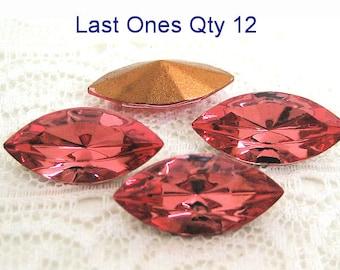 LAST ONE'S  15x7 Swarovski Peach Navette Glass Rhinestone Qty 12