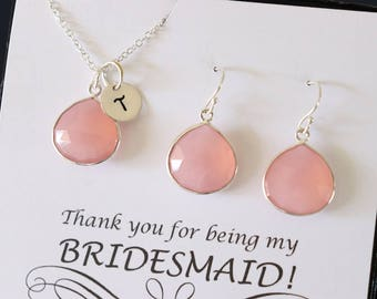 12 Initial Bridesmaid Necklace and Earring set Pink, Bridesmaid Gift, Blush Pink Gemstone, Sterling Silver, Initial Jewelry, Personalized