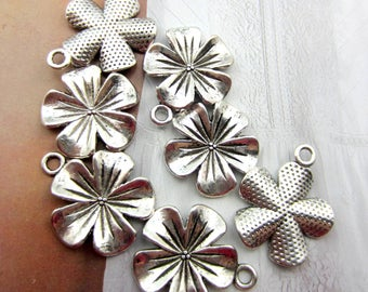 10 Silver Flower charms cherry blossoms wedding supplies  jewelry findings 23mm x 20mm antique silver flower HP  (AA2),