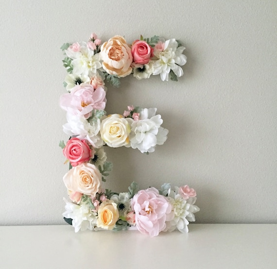 Floral letter floral initial nursery letter flower letter like this item negle Choice Image