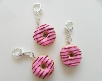 Pink Donut with Chocolate Drizzle Charm Progress Keeper Stitch Marker Polymer Clay