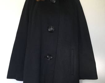 60s black coat mink fur collar, 1960s swing coat, long black opera coat, big button, retro mod wool coat, 50s coat 1950s vtg, long oversized