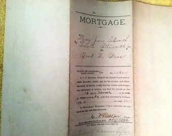 Vintage Mortage from the State of Illinois, Kane County from 1880