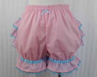 Pink fancy ruffle short mini bloomers fairy kei decora pop pastel goth adult women small - plus size