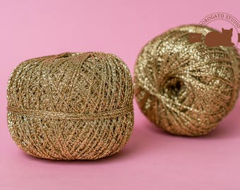 Gold Metallic yarn, Lurex yarn, Shining yarn, Glitter Yarn, sparkle yarn, shimmering yarn, Metallic yarn