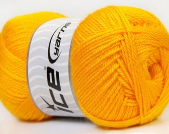 balls of yarn in yellow brand ICE 100grs