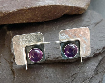 Sterling silver post earrings with studs with amethyst. Stud earrings. Amethyst earrings. Sterling silver studs. Silver jewellery.