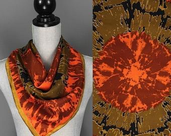 Vintage Vera Neumann Silk Scarf - 60s 70s Vera Neumann Gold Piece Collection Silk Scarf - Vera Neumann Hand Rolled Abstract Silk Scarf