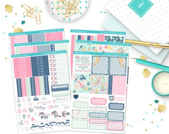 Horizontal Be a Mermaid Weekly Planner Sticker Kit for Erin Condren, Plum Planner, Inkwell Press or Filofax Planners