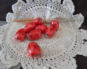 8 Med Glazed Ceramic Macrame Beads-Oval Shaped-Handcrafted-Red-Ladybug-TH19