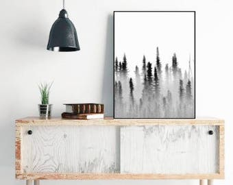 Foggy Forest Art Print, Nature Art Prints, Black and White Landscape Wall Decor, Large Wall Art Minimalist Art Trees in Fog Printable