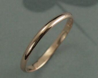 10K Rose Gold 2mm Wedding Band--Half Round Traditional Rose Gold Wedding Ring--Women's Wedding Band--Solid Rose Gold Hand Made Band